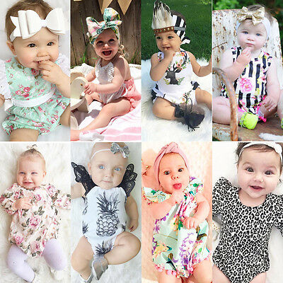 Newborn Toddler Girl Baby Kids Romper Floral Bodysuit Infant Clothes Outfit