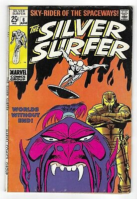 The SILVER SURFER vol.1 no.6 SILVER AGE MARVEL COMIC BOOK Brunner ink CIRCA 1969