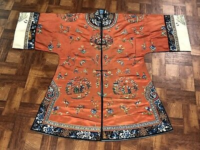 Rare Antique Chinese Silk Red Robe With Peking Flowers NO RESERVE !!