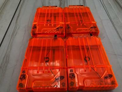 Lot 4 Nerf Elite Clear Front 6 Round Dart Gun Magazine Clips Hail-Fire upgrade