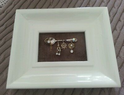 Framed Mixed Media Artwork Tea Spoon With Vintage Jewlery - Hang Or Stand :)