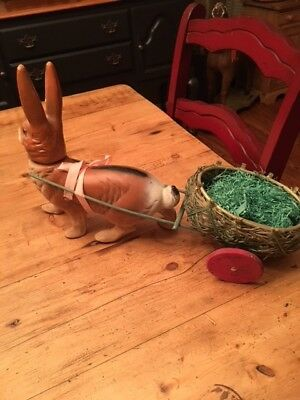 """HUGE"" Vintage paper mache rabbit candy container with cart !!!!!"
