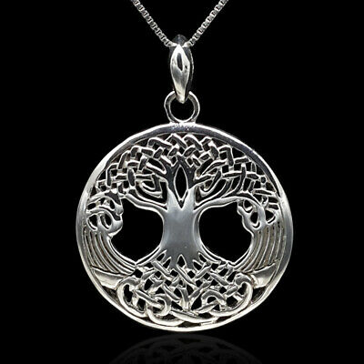 Sterling Silver Oxidized Celtic Tree of Life Round Ancient Necklace 925 Pendant