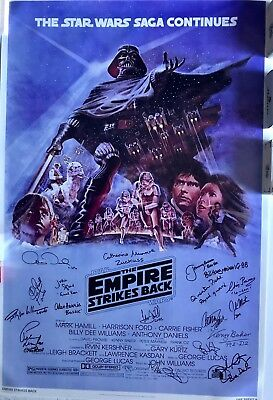 Star Wars Autogramm Poster Carrie Fisher Marke Hamill Kenny Baker ESB Style 2