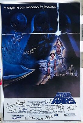 Star Wars Autogramm Filmposter Harrison Ford Carrie Fisher Marke Hamill