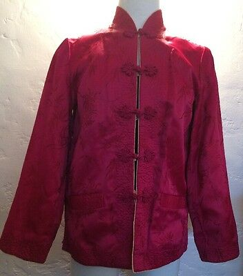 100% Vintage Silk Jacket Wear Inside Out Fuchsia Or Wheat/Gold Color Small Sz