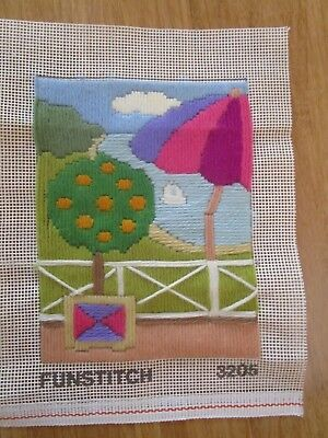 Completed Long Stitch Of River Scene By Funstitch 17.5Cms High X 13.5Cms Wide