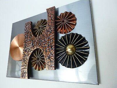 Vintage Brutalist Wall Picture Metal Sculpture