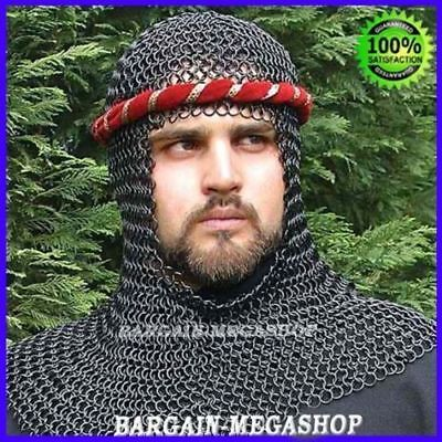 Chain Mail Coif Black Chainmail Hood Knight Armor Reenactment Costume Larp Sca