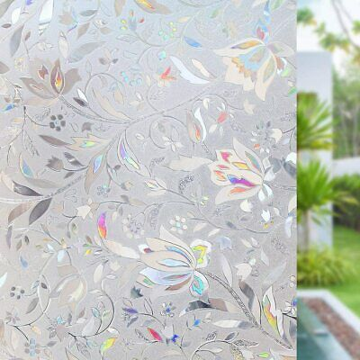 RABBITGOO 3D Frosted Glass Film Flower Pattern Static Cling Bedroom Window Tint