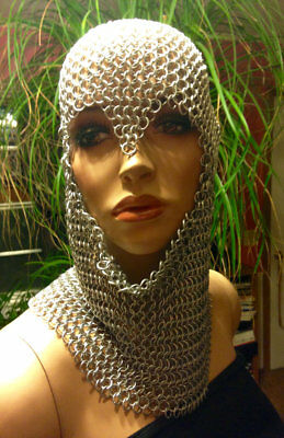 MS Butted Oil Finish Chain mail Coif 10 mm Medieval Coif Hood Halloween