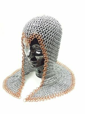 Butted Chainmail open neck Coif/ Hood for Hauberk 10 mm Medieval Knight Coif