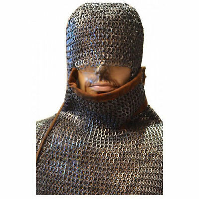 Chain Mail Coif /Hood Integrated Coif Leather Flat Riveted Oiled