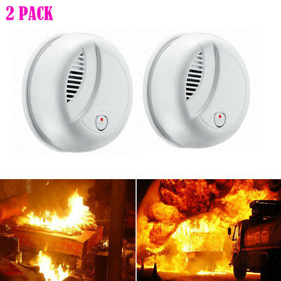 2 PACK Smoke Alarm Fire Detector Powered by 9V Battery for House Bedroom White