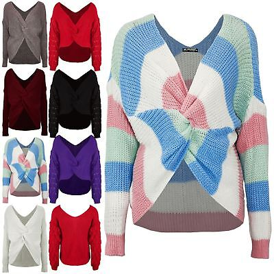 Women Ladies Multi Stripes Twisted Knot Sweater Slouch Fit Baggy Jumper Knit Top