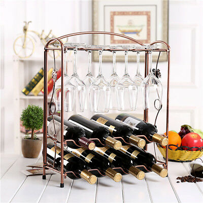 Retro Iron Wine Bottle Rack Glasses Stand Storage Tabletop Kitchen Bar Organizer