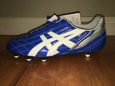 New Tags Asics Tigreor It Football Boots Blue Size 8.5 Screw Ins Nwt