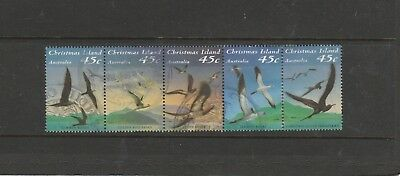 1993  Fine Used Se-Tenant Strip of 5 x 45c. Seabirds of Christmas Isl. See Photo
