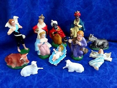 Vintage  Christmas Nativity Set - 12Pieces- Hard Thick Plastic Hong Kong