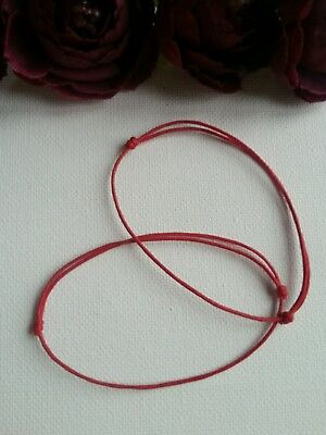2 x Kabbalah Lucky Red Cord Bracelet 1mm  waxed cotton.