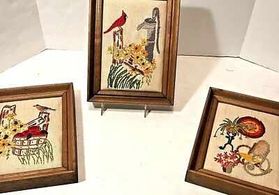 Set of 3 Wood Framed Embroidered 6x8 Bird Flower Cardinal Whimsical Scenes 70s
