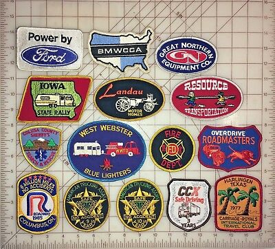 Mixed Lot of 15 Vintage Patches-Transportation-Auto-First Responder-Motorhomes