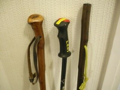 hiking walking sticks x3 including 1x Leki adjustable titanium ultralite