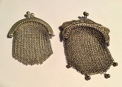 2 Antique Sterling Mini Mesh Purses - Excellent