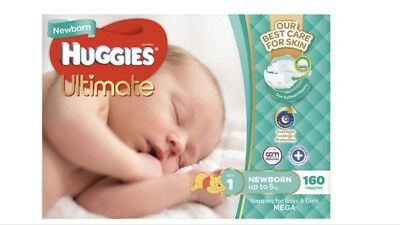 Huggies Ultimate Newborn Nappies Box Of x160 (for Babies Up To 5kg) Unisex