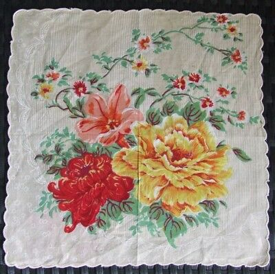 Gorgeous Vintage Floral Cotton Handkerchief With Scalloped Border