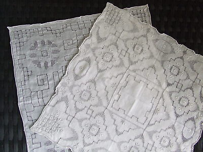 2 Gorgeous Vintage Cutwork Cotton Handkerchiefs *Beautiful*