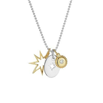 "Sterling silver Star disc and jewel Combo set on 18"" ball chain"