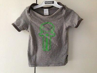 BONDS VINTAGE Gingerbread Man Stripes Top Tee Tshirt Baby SIZE 00 Rare Unicorn