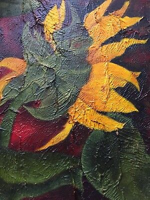 Original Oil Painting On Board Of Sunflower