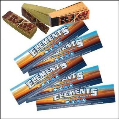 5 King Size Elements Roling Rizla Papers + 3 Raw Roach Tips Card Books Filter
