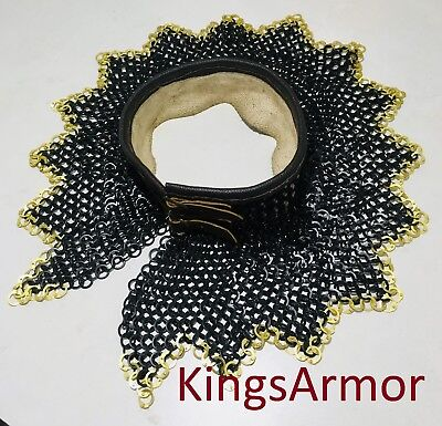 Chainmail-Collar-neck-protection-9-mm-Flat-Riveted-With-Brass-Ring-Zig-Zag