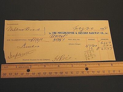 Poughkeepsie & Eastern Railway Co Railroad Lumber Waybill 1899