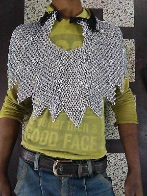 Round Ring Dome Riveted Chainmail Aventail collar Leather Chain Mail Aventail