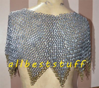 Chainmail Collar 9 mm Round Ring Alt Solid Ring Dome Riveted Zig Zag