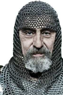 Oil finish Butted Chain mail Coif 10 mm Medieval Coif Hood Armour Knight Viking
