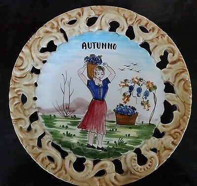 VINTAGE BASSANO made in ITALY hand painted AUTUNNO ceramic pottery wall plate