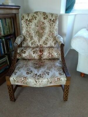 George III Style Library Chair Antique Furniture Wooden Flower Fabric 3rd Desk