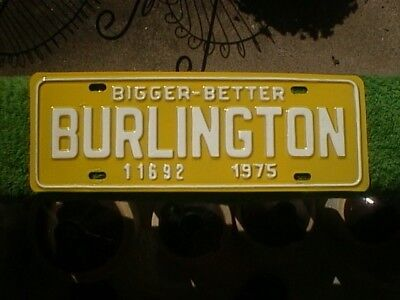1975 Burlington Nc License Plate Tag Topper (Ems Yellow & White)