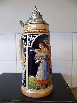 Vintage, Large  Ornate Hunting Themed, German Biere Stein. One Litre Biere Stein
