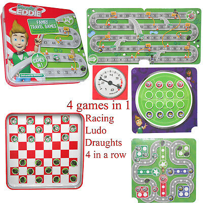 Travel game Board Magnetic Mini Kids Gift Draughts Crosses Ludo Portable 4 in 1