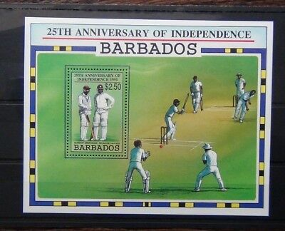 Barbados 1991 25th Anniversary of Independence Cricket Miniature Sheet MNH