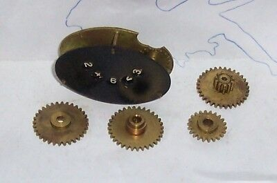CLOCK PARTS, clock movement, brass, steel gears