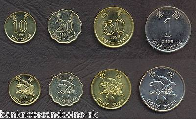 HONG KONG COIN SET 10+20+50 Cents +1 Dollar 1997-1998 UNC UNCIRCULATED LOT of 4