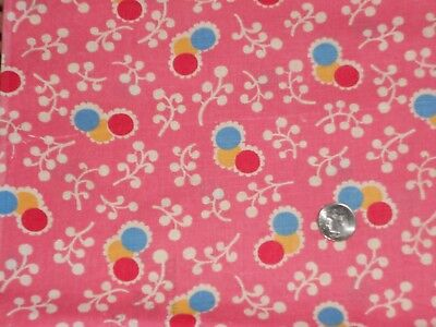 Vintage   Pretty Pink Circles  Feed Sack Cotton Fabric Unused