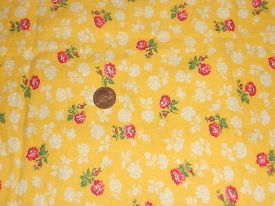 Vintage  Pretty Yellow Tiny Red Roses Feed Sack Unused